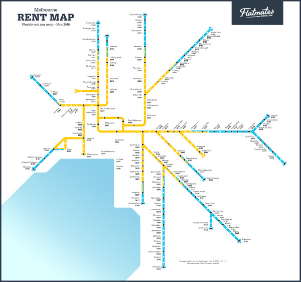 Melbourne Rent Map Flatmatescomau